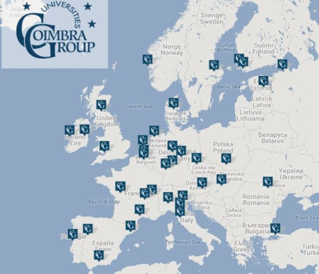 map of COIMBRA GROUP - European Universities
