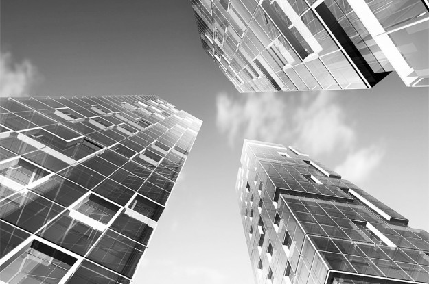 Concept exterior. Skyscraper design, sky and 3d model my own